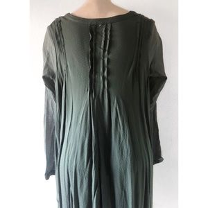 Free People Tops - FREE PEOPLE GREEN HIGH LOW BUTTON UP TUNIC SHIRT M